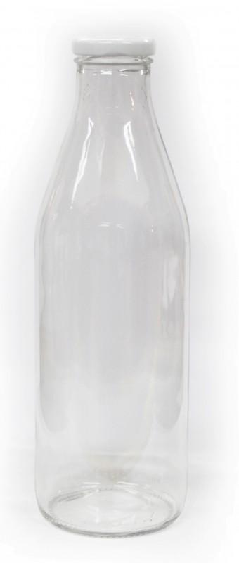 Skleněná láhev na mléko 1L včetně víčka