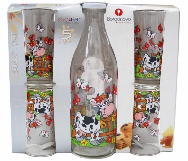 Skleněná sada - sklenice na mléko + 4 skleničky - Dulcinea